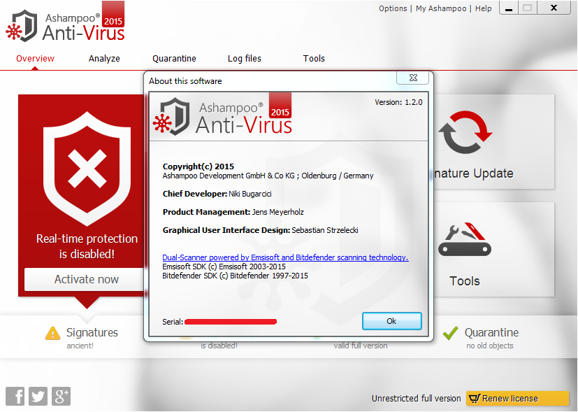 Ashampoo Antivirus 2015 Crack, Keys Full Free Download